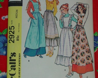 Vintage Pattern c.1971 McCall's No.2925 Pinafores & Apron Size Small, Uncut