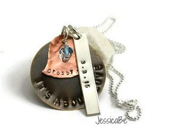 New Mother Birth Mother Hand Stamped Necklace