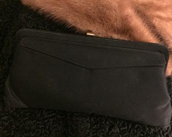 Vintage black fabric clutch with envelope detail