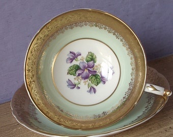 Vintage 1960's Paragon purple violets teacup and saucer, Pale green tea cup, English teacup, Antique teacup, green & gold bone china teacup