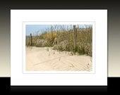 Beach Sand Dune and Fence Matted Print, Beach theme art, Beach House wall decor, Ready for framing or framed