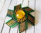 Vintage Green & Gold Striped Pinwheel Brooch Pin