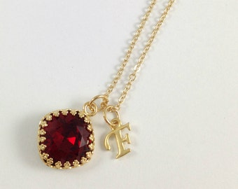Red Garnet Necklace - Swarovski Crystal Cushion Cut Siam Gold Bezel Setting Pendant - January Birthstone Personalize Letter Initial Necklace