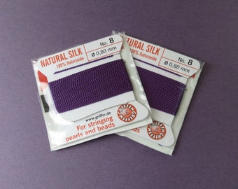 Natural Silk Cord With Needle - 2 packs - Size 8 - Amethyst