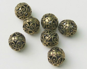Gold Bali Style Filigree Bead With Dotted Band - 12X13mm - Four Beads