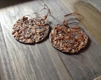 Wire wrapped earring, Copper earrings, wire wrap earrings, Handmade earrings, Jewelry Handmade, earrings, jewelry, dangle, rustic earrings