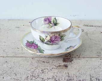 RESERVED - Lovely Japanese Iridescent Tea Cup and Saucer Beautiful Flowers