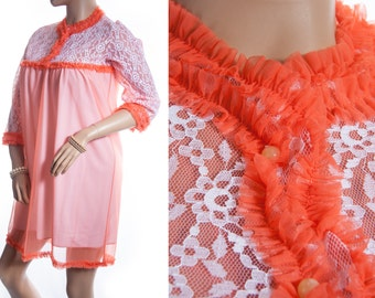 Stylish unusual sheer soft flame orange nylon and feature see through white lace and frill detail 1960's vintage nightgown nachthemd - 3309