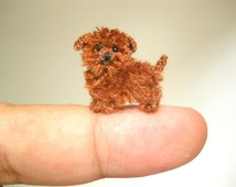 Yorkipoo Puppy - Tiny Crochet Miniature Dog Stuffed Animals - Made To Order