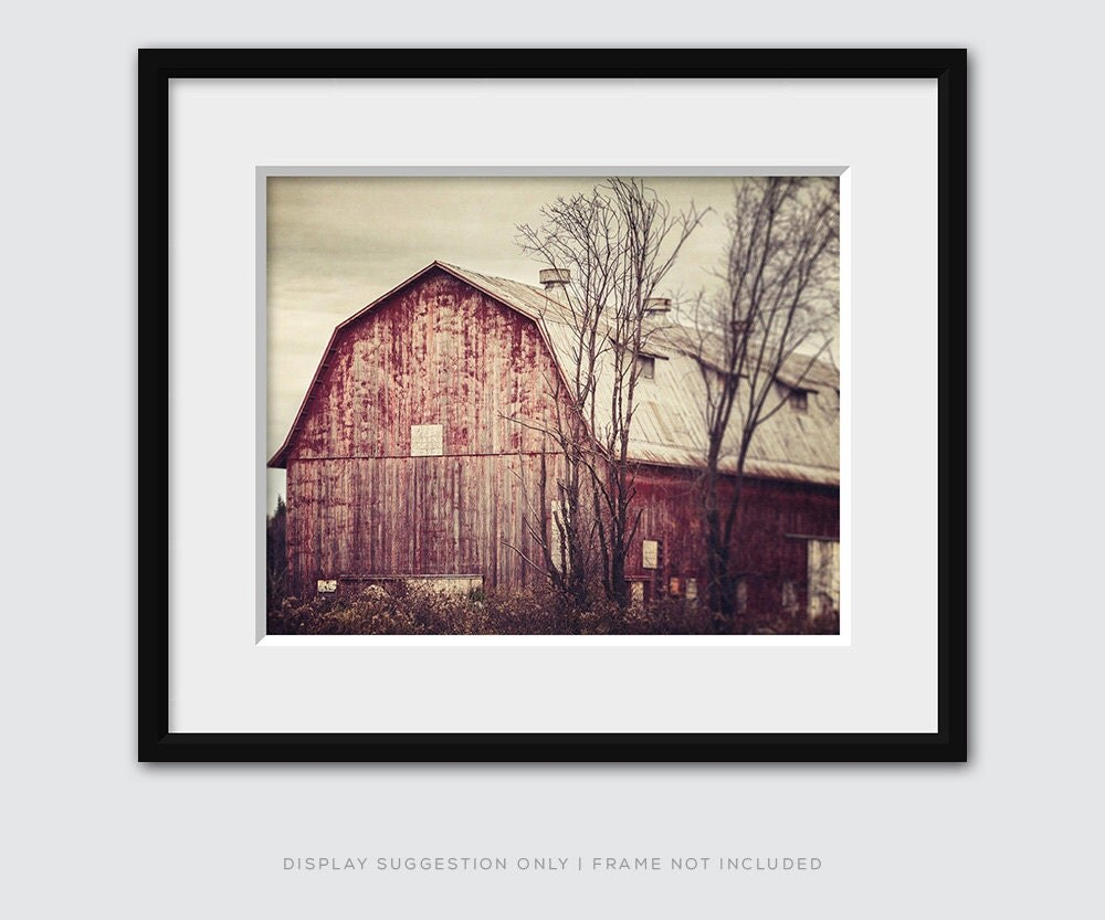 Red barn photography rustic home decor red country decor for Red home decor