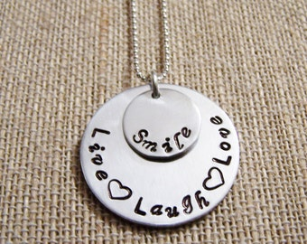 Live Laugh Love Smile Handstamped Pendant necklace sterling silver chain