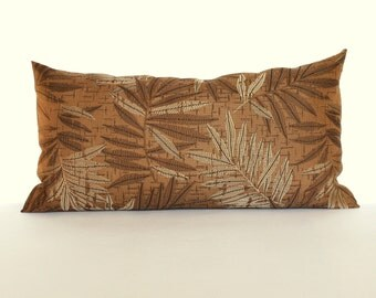 Lumbar Pillow Cover Rust Pillow Cover Leaf Upholstery Fabric Throw Pillow Cover Oblong Decorative Pillow 12x24 12x21 12x18 12x16 10x20