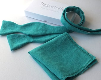 Turquoise Linen Bowtie & Pocket Square  - just bowties for men - Bagzetoile - I am a maker of  men's freestyle, self tie bowties
