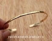 Gold Cuff Bracelet - 14K Gold Filled Cuff - Skinny Hammered Cuff - Gold Filled Bracelet - Stacking Bracelet -  Minimalist - Two Feathers