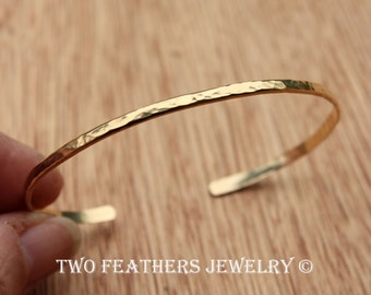 Gold Cuff Bracelet - 14K Gold Filled Cuff - Skinny Hammered Cuff - Gold Filled Bracelet - Stacking Bracelet -  Minimalist - Two Feathers