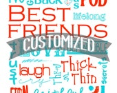Customized Best Friends Subway Art Digital PRINTABLE JPEG file Customize Colors Size and Words