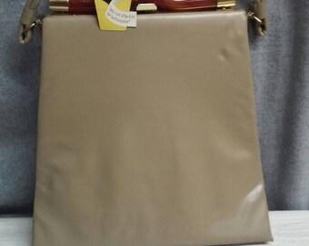 Vintage Garay purse, handbag, taupe, lucite