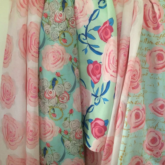 Watercolor Shabby Chic fabric designs
