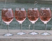 Wine Glass Etched With Sand Dollar