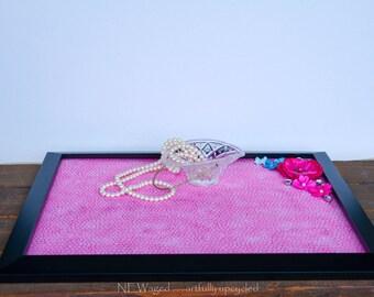 Vanity tray with embellishments, dresser tray, perfume tray, jewelry tray, upcycled