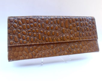 Vintage Mock Croc Brown Long Clutch Purse Vinyl Mid Century Air Step Embossed Reptile Simulated Leather Faux Alligator Handbag Midcentury