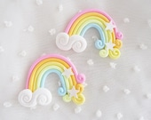 2pcs - Large Pastel Rainbow Clouds Fairy Kei Clay Decoden Cabochon (50mm) STR006