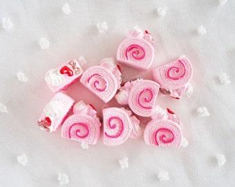 6pcs - Kawaii Pink Swiss Roll Cake Decoden Cabochon (17x15mm) CK10018