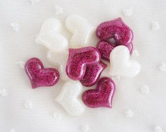 6pcs - Super Glittery Hearts Mix Decoden Cabochon (22x18mm) HRT10025