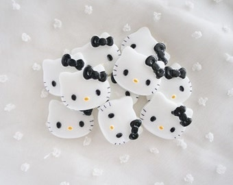 5pcs - Medium Kitty with Black Bow Decoden Cabochon (28x22mm) HKM10010