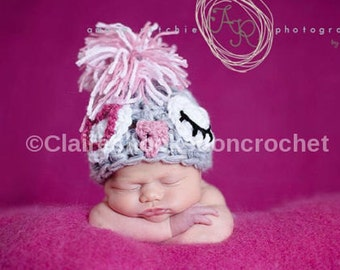 lady punk rock owlie, newborn size, made to order,  photography prop or great gift.