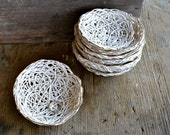 Bird Nest - gold rim white jewelry dishes - ceramic clay stacking bowls - organic pattern - wedding ring bearer dish