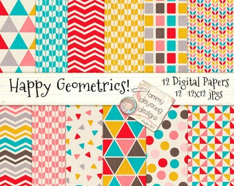 Geometric Digital Paper, Retro digital backgrounds in bright turquoise, red, yellow, brown for invitations, scrapbooking and paper crafts