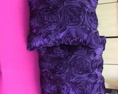 Custom Made Eggplant Satin Rosette Pillows Set of 2  16 x 16 with Inserts Included