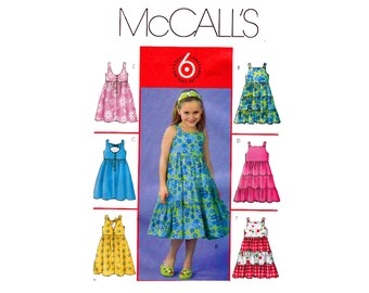 Girls Summer Dresses Sizes 6-7-8 UNCUT Sewing Pattern McCall's 4817 Sundress with Back accent Option Sleeveless High Waist Dress Pattern