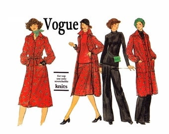 Vogue Shirt Dress Belt Skirt Pants Top Size 20 1/2 Bust 43 Vogue 9572 UNCUT Vintage Sewing Pattern Top for knits Duster Jacket shirtdress
