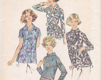 1970s Set of Blouse Tunic Tops Simplicity 5359 Available in 2 Sizes Size 16 Bust 38 & Size 18 Bust 40 UNCUT 70s Sewing Pattern