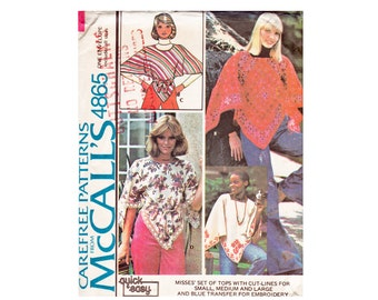 Poncho top smock peasant blouse Boho Chic cute summer top McCalls 4865 Small Medium Large Bust 32 1/2-42 UNCUT 1970s Vintage Sewing Pattern