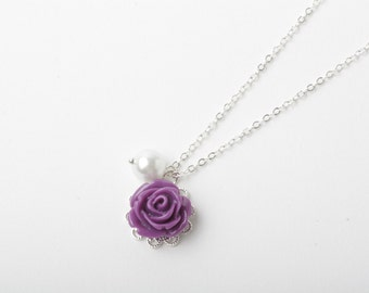 Flower girl necklace, purple rose necklace, purple wedding jewelry, flower girl gift, purple necklace, junior bridesmaid gift