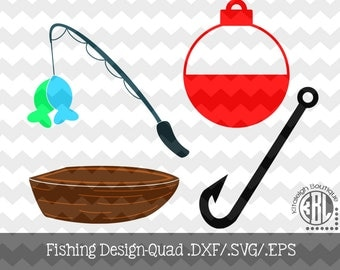 Fishing Design Quad .DXF/.SVG/.EPS Files for use with your Silhouette Studio Software