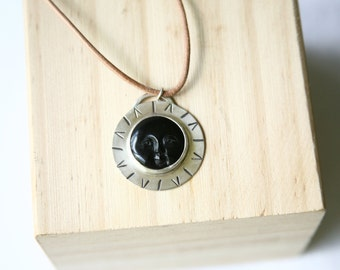 Sun Face Necklace, Black Onyx, Pendant Necklace, Hand Stamped Silver, Metalwork Necklace, Silver, Leather Necklace
