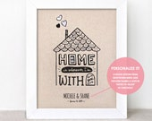 Wedding Gift for Couple - Home is Wherever Im With You Art Print 8x10, Personalized Couple Gift, Typography Hand Painted Illustrated Print