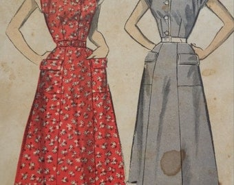 1940s Advance Button Front Dress with Pockets, Collar and Cuffs Sewing Pattern 5784, Size 16, Bust 34, Unused