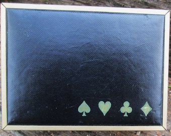 Vintage Congress Playing Card Storage Box.   Brass and Black Leather/Leatherette.  Y-332