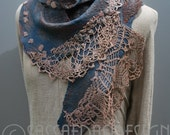 Extravagant hand felted scarf with stunning surface OOAK wearable art accessory