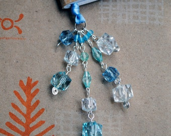 Blue Beaded Book Thong Ribbon Bookmark Sparkly Ice Winter Beads