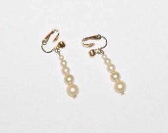 Vintage Earrings  Crown Trifari Pearl Dangles Wedding Jewelry Bridal Jewellry Party Prom Opera Birthday Christmas Gits