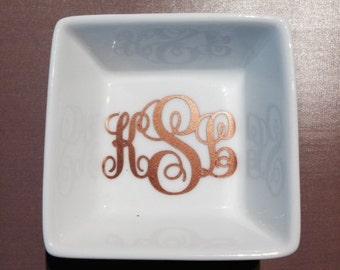 Personalized monogram ring/jewelry dish