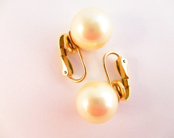 Bridal Bliss - Sophisticated 'Majorica' Glass Pearl Clip-on Earrings - Made in Majorca, Spain - Goldtone Setting