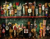 Beer taps, still life photograph, man cave decor, for adult beverage lover, colorful, red blue green,