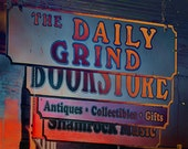 Daily Grind a print of a blue red orange sign, medly of signs in downtown Murphy, NC, colorful wall art, rustic, home/office decor, wall art